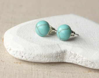 Turquoise Earrings Tiny Turquoise Stud Earrings STUD or CLIP small Turquoise Jewelry dainty 8mm stud Turquoise post mother and daughter E451