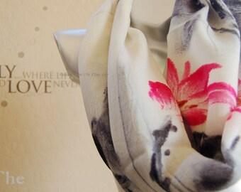 100% Wool scarf,Beautiful flower print infinity Scarf ,Christmas gift for her ,cute infinity scarf , fashion scarf Modern wool scarf