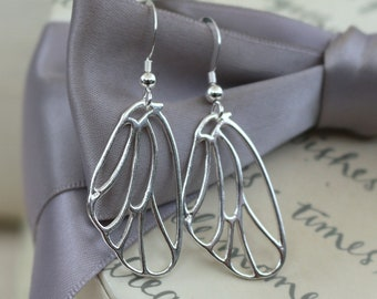 Large Butterfly Wing outline earrings Sterling Silver