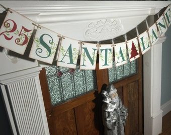 Christmas Decoration,  Santa Christmas Banner, Rustic Santa Sign, Christmas Photo Prop, Christmas Garland, Santa Lane  Sign