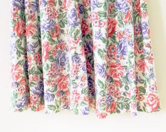 Secret Garden Floral Vintage Skirt / Pink and Purple Floral Midi Skirt / Vintage High Waisted Floral Skirt / Boho Hippie Floral Midi Skirt