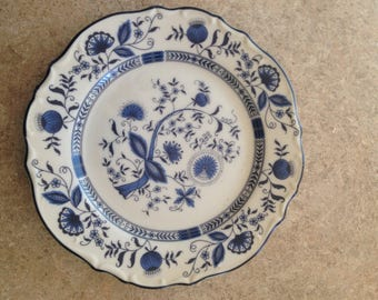 "Blue Bonnet Ironstone  Onion Plate 6.5"" around"