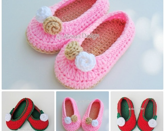 Crochet Slipper Pattern Crochet Pattern 109 - Toddler Rose Slippers Christmas Slippers Crochet Booties Pattern Girls Slippers Pink Red White