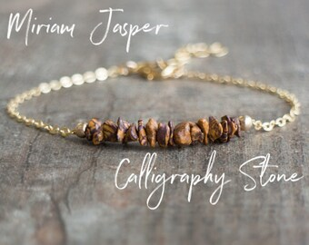Healing Crystal Bracelet, Miriam Jasper Bracelet, Chakra Bracelet, Calligraphy Stone Jewelry, Cobra Stone, Mariam Stone, Script Stone