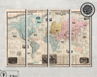 Large Vintage World Wall Map canvas art print on 4 panels ready to hang on the wall, 109