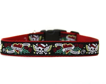 1 Inch Wide Dog Collar with Adjustable Buckle or Martingale in Biker Dog