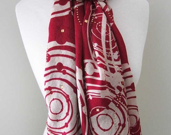 Red Silk Scarf with Securely Ironed-on Sparkling Jewels - All seasons long red silk scarf, gift for her, Holiday accessories