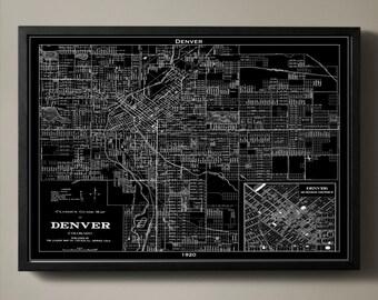 DENVER Map Print, Black and White Denver Wall Decor