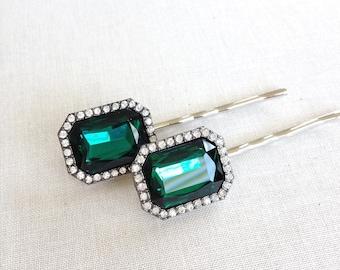 Pair of emerald green hair pins, repurposed vintage earrings, wedding hair accessory, vintage wedding, bridesmaid gift, evergreen, forrest