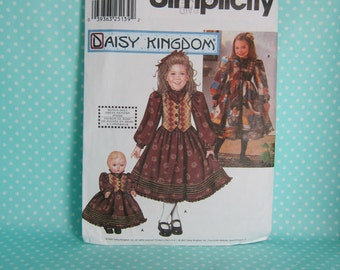 Daisy Kingdom Dress Pattern, Cheapest Shipping. Simplicity 9581. Fancy Dress with Matching Doll Clothes Pattern. Sz: 7-14. Uncut.