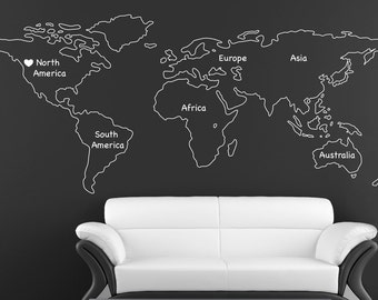 Outlined World Map Decal With Continents Vinyl Wall Sticker Decals Home  Decor Wall Decals Stick On Wall Art By   Outlined World Map SD 090