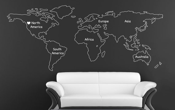 Outlined world map decal with continents vinyl wall sticker gumiabroncs Images