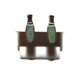 Vintage Sterling Moss Agate Earrings