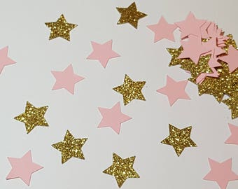 Stars - Pink and Gold Stars - Wedding decor - Wedding - Baby shower - Wedding Confetti