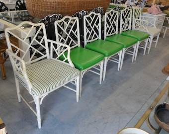 6 Faux Bamboo Chippendale Dining Chairs