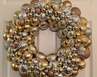 Silver & Gold Ornament Wreath