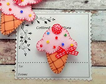 Pink Ice cream hair clip, Felt lightly padded Ice cream barrette, Ice cream hair tie, ice cream brooch pin Single/Pairs