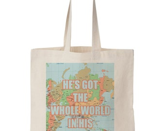 He's Got The Whole World In His Hands Canvas Tote - Scripture, Bible print, God print, Christian print, Bible, map, 14''w x 16''w.