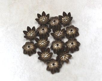 9mm bead caps antiqued brass flower 30