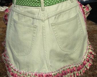 Upcycled, Repurposed, Green Denim Half Apron with Rose Fabric Ruffle
