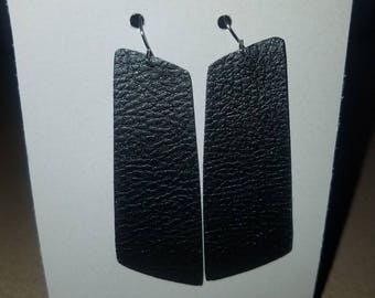 Black faux leather angled rectangle earrings