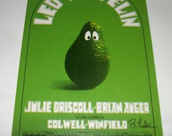 Led Zeppelin Vintage Postcard 1969 FIRST PRINTING Signed by Randy Tuten ~ Bill Graham BG-170 Fillmore Mint!