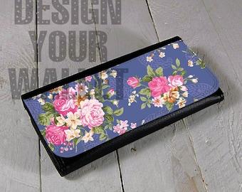 Personalized Womens Wallet, Black Leather wallet, bi-fold wallet, vintage Floral, travel wallet, slim wallet,Wallets For Women, Cute Wallet