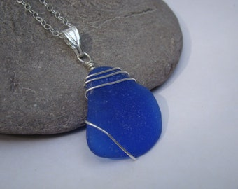 Cobalt Blue Sea Glass Pendant Necklace - Sterling Silver Wire Wrapped Sea Glass Jewelry