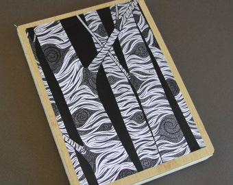 Birch Journal, Diary Notebook Aspen Tree Woodland Forest Black and White Bamboo Illustration Blank Book Nature
