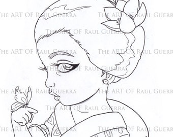 Little Geisha with butterfly. INSTANT DOWNLOAD Digital Digi Stamps.