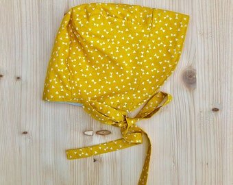 Baby sunhat, toddler sunhat, baby bonnet, toddler bonnet, mustard print