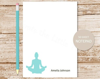 personalized yoga notepad . yoga note pad . personalized stationery . yoga stationary . meditation notepad