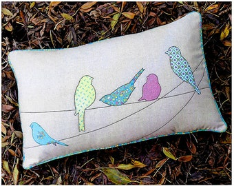 "Pattern ""On A Wire"" by Melly & Me (MM159) Applique Bird Pillow Pattern"