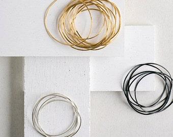 Stack of bracelets, Stacking bracelet, Minimalist bracelet, Unique bracelet, Silver bangle, Black bangle, Thin stack bracelet, Stacking set