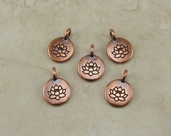 5 TierraCast Round Lotus Stamp charms > Zen Yoga Buddhism Stampable - Copper Plated Lead Free pewter - I ship Internationally 2403