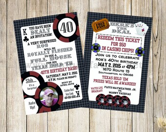 Personalized Poker Adult theme invitation with photo. Double sided, 2 sizes available. PRINTED & SHIPPED