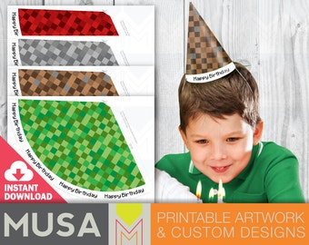 INSTANT DOWNLOAD: Pixelated birthday party hat