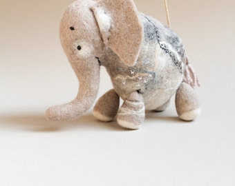 Babar - Felt Elephant,  Art Toy. Puppet,  Marionette. Felt toy. Felted Animals. Stuffed Toy,  neutral, beige, natural colors. MADE TO ORDER