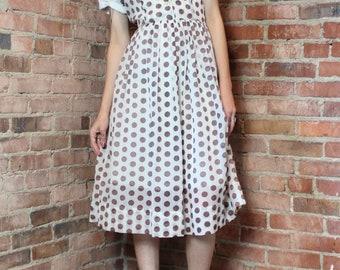 Vintage 50s Polka Dot Shirt Waist Dress Small Medium Brown White Collared 1950s Pinup Rockabilly Midi Skirt