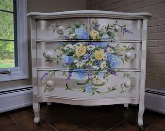 Painted Furniture/ Hand Painted Furniture/ Painted Dresser/ Hand Painted Dresser/ White Dresser/ Hand Painted Floral Dresser