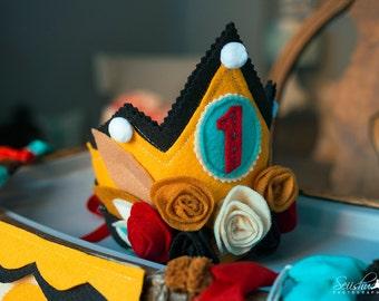 Girl Birthday Crown, Woodland Birthday Crown, Custom Birthday Crown, Red Birthday Crown, Princess Birthday Decor, 1st Birthday Princess