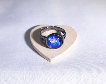 NEW - Outer Space Ring with Gunmental Adjustable Band