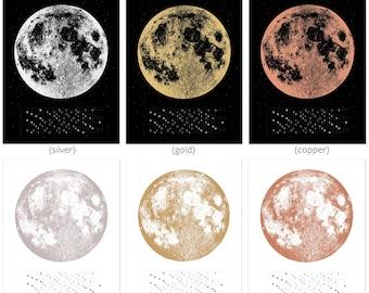 2018 calendar, Moon Phase calendar, Full Moon lunar art print, lunar phases screen print, beautiful silver gold copper medium moon wall art