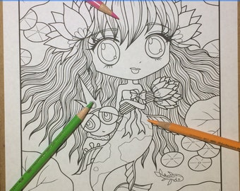 Chibi Doodle Fantasy Mermaid Anime Manga Coloring Page for Adult Coloring PDF download by JennyLuanArt