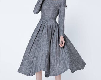 grey dress, fit and flare dress, long sleeves dress, pleated dress, midi dress, linen dress, square neck dress, plus size dress 1718