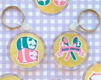 Bean panda keychain - Put the most adorable pandas in your keys (pink and blue) - Round keyring with two sides