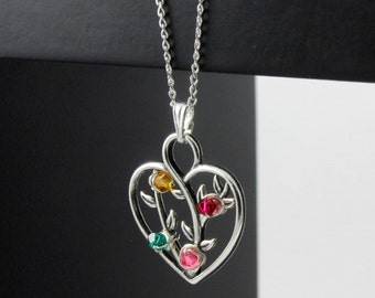 Tree of Life Heart Pendant Necklace With Custom Birthstones - Wire Wrapped Tree Heart Pendant - Sterling Silver Family Tree