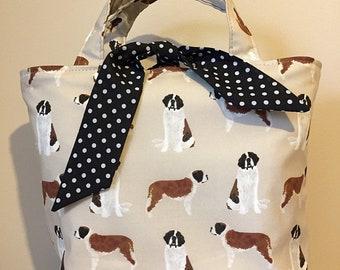 Saint Bernard dog print handbag