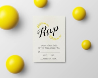 Wedding Invite Rsvp Template, Wedding Announcement Rsvp, Printable Wedding PDF, Editable Wedding Card, Instant Download,  #03-PWy RSV