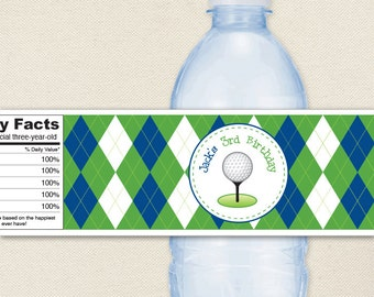 Navy Golf Party - 100% waterproof personalized water bottle labels